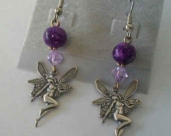 Purple Fairy Earrings with Swarovski Crystal