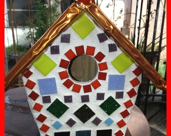 Birdhouse Glass Mosaic Copper Top Roof