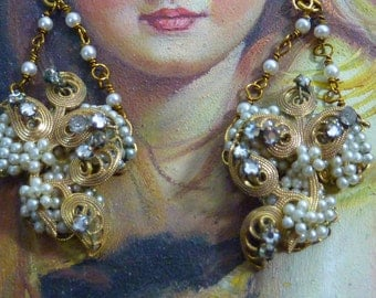 PEARLS PEARLS antique vintage assemblage gold filigree Miriam Haskell style pearl earrings