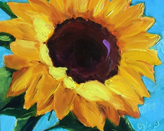 Original oil painting:   Sunflower with blue background  floral, small painting, kitchen art