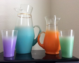 Colorful frosted Blendo Pitchers & 2 Frosted Glasses-Ombre Orange frosted tumbler, Turquoise Blue, Purple,Green