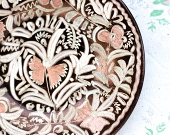 Etched Copper Decorative Plate - Small Wall Hanging Dish - Made in Turkey - Boho Home Decor
