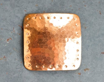 Hammered Copper Lepl Pin - Minimalist Square Brooch