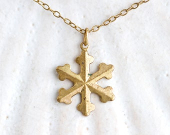 Golden Snowflake Necklace - Vintage Brass penadnt on chain