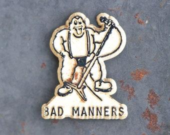 Bad Manners Lapel Pin - White and Black Badge - English Ska Band Fan