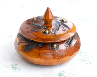 Carved Wood Jewelry Box - Small Round Box - Boho Home Decor
