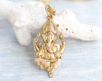 Ganesha Necklace - Hindu Deity Golden Pendant on Chain  - Elephant Head God Figure