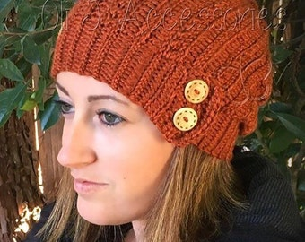 Cabled Slouchy Beanie w/ Buttons