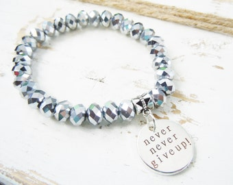 Inspirational Beaded Stretch Bracelet Affirmation Silver Never Never Give Up