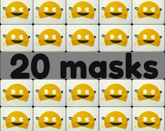 20 Pac-Man felt masks (2 years - aduls size) - yellow black - Pacman game - kids boys males party - soft Dress up play Photo prop accessory