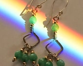 Sterling Silver and Faceted Green Glass Beaded Earrings