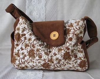 Brown flowered purse