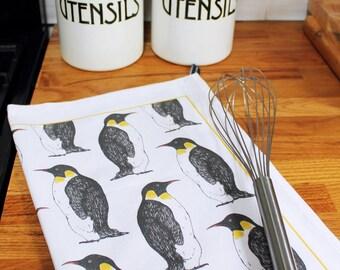 Penguin Tea Towel - kitchen towel - dish towel -Christmas tea towel - printed in the UK - 100% cotton - kitchen textiles - penguins