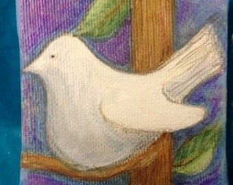 White Dove Tiny Stretched Canvas Acrylic Painting