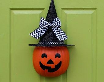 Pumpkin Wreath - Halloween Wreath - Jack O Lantern - Choose Face and Bow
