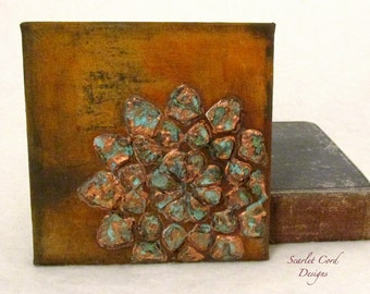 Mixed Media Collage Art, 5 x 5 Canvas, Mixed Media Original Rust Painting, Ready to Ship,