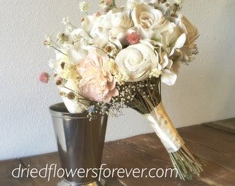 Dried & Preserved Flower Wedding Bouquet - Pink, White, Ivory, Blush, Sola -  Amore Collection