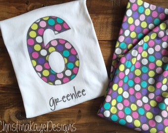 Custom name and number gray dots girls birthday pajamas