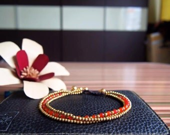 3 in 1 anklet/brass anklet/carnelian anklet/orange anklet/simple anklet/Handmade Anklet from Thailand/summer anklet/Hawaii jewelry/India ank