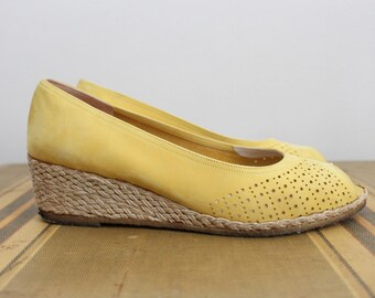 70s Ferregamo Perforated Yellow Suede Wedges/ Espadrille Shoes / Size 8 / Size 9AA