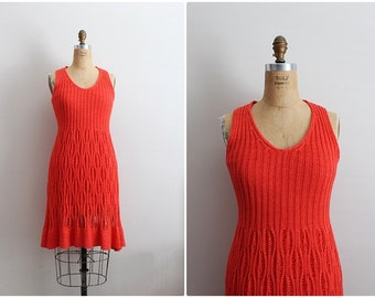 90s Red Crochet Dress / Bohemian Mini dress / Size S/M