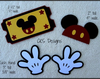 Die Cut Mickey Mouse Ticket Hat & Hands Disney Vacation Premade Paper Piecing Embellishment for Card Making Scrapbook or Paper Crafts