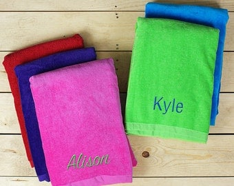 Personalized Any Name Beach Towel, pool, beach, summer, travel, outdoor, colorful, him, her, girls, boys - E951731X