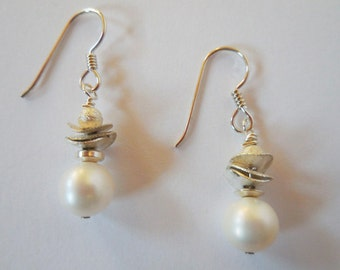 White Freshwater Pearl Earrings and Thai Hill Tribes Silver