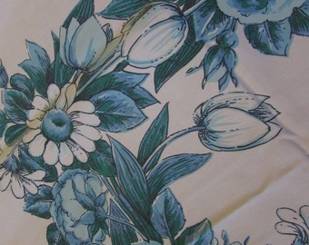 Vintage Cotton Tablecloth - Tan with Blue and Aqua Floral Pattern