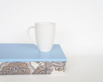 Breakfast Serving tray with pillow, decorative tray- light blue with pastel paisley print pillow