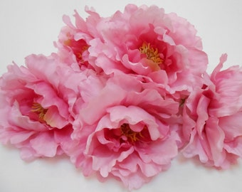 5 Pink Silk Peonies / Peony Silk Flowers / Pink Flowers / Artificial Silk Flowers / Crafting Flowers / Bouquet Flowers / Wedding Flowers /