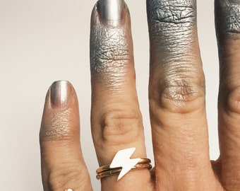 Ziggy Ring, lightening bolt stacker, david bowie, weather jewelry, aladdin sane, stacking ring