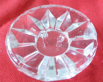 """4X0.8"""" ins 2 hole carved clear glass buttons. Run ray design, nice weight, quite thick in center. Nice sparkle. CLAM15.3-6.28-15."""