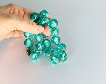 Venetian glass bead Necklace, Murano Blue Teal Silver Foil glass, vintage 1960s jewelry