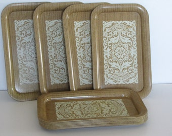 Vintage Brown TV Trays - Set of Eleven - Faux Wood and Lace