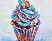Painting-Sprinkled Cupcake-Contemporary Original Fine Art Oil Painting Still life by Elizabeth Elkin - size 6x6 inches