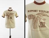 Vintage 70s Wild Turkey Bourbon T-shirt Brown Ringer NOS Deadstock Made in USA - Medium