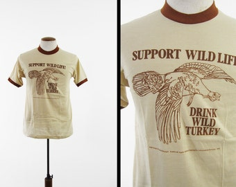 Vintage 70s Wild Turkey Bourbon T-shirt Brown Ringer NOS Deadstock Made in USA - Medium