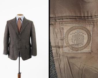 Vintage J Press Tweed Jacket Herringbone Brown Fleck Wool Sport Coat 3 Roll 2 - Size 40