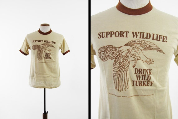 Vintage 70s wild turkey bourbon t shirt brown ringer nos for Shirts made in turkey