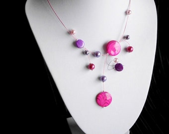 Illusion Necklace, Shell necklace, Fuchsia Necklace, Bridesmaid Necklace, Statement Necklace, Summer necklace