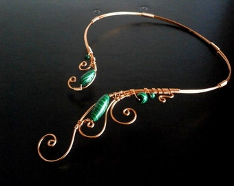 Malachite Necklace, Copper Necklace, Wire Necklace, Statement Necklace, Wire Necklace, Elven Necklace, Unique Necklace