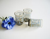 Vintage, Juice Glasses, Pale Blue on Brown, Libbey Glasses, Small Drinking Glasses, Mid Century