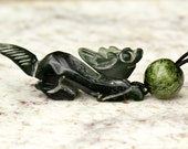 Antique Little Green Jade Dragon Pendant Necklace with Antique Jade Beads by NeoWare