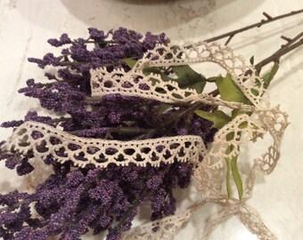 Vintage Decorative Narrow Crocheted Lace, Vintage Lace Trim, Vintage Sewing Supplies