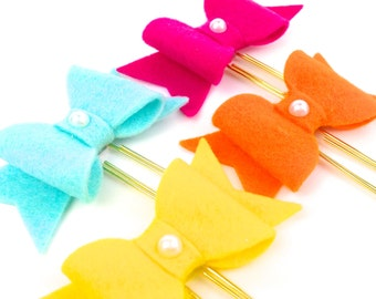 Planner Clip - Colorful Felt Bow Planner Paper Clip | Bookmarker Clip - Felt Bow Magnet Novelty Gifts | Novelty School Gifts for Kids