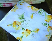 RESERVED for Raven~Vintage Sheet / Yellow Morning Glory Sheet / Queen Fitted Sheet / Crisp White Cotton / Yellow Flower Sheet / Percale