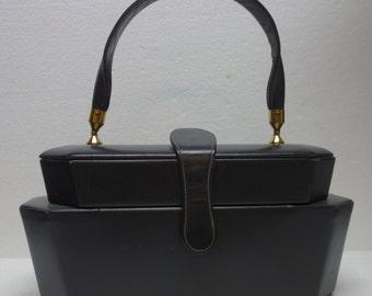 "Vintage Navy Leather ""Double-Decker"" MOD Box Purse"