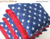 Red & Blue White Star Print Bean Bags 4th of July Patriotic Bright Colors Children's Toy Homeschool (set of 6) - US Shipping Included