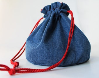 Denim Bucket Bag Red White Hearts Upcycled Blue Jeans Makeup Travel Tote - US Shipping Included